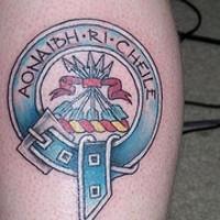 Aonaibh ri cheile in emblem coloured tattoo