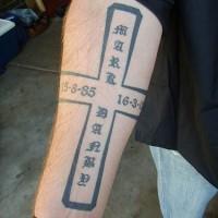 giroglifi cinesi croce memoriale tatuaggio
