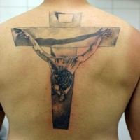 Jesus christ crucifiction tattoo on back