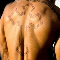 Latin full back cross tattoo