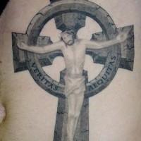 Jesus christ on stone  cross tattoo