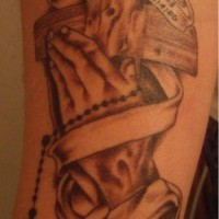 Wooden cross with praying hands memorial tattoo