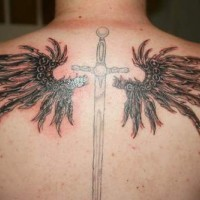Black wings tattoo on back with sword