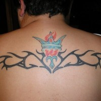 Tribal tattoo with crown and flame