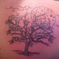Tatuaggio carino sulla spalla l'albero col nomi & la luna grande