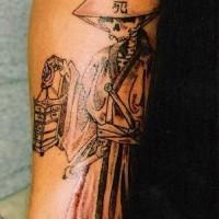 stile cinese triste mietitore originale tatuaggio