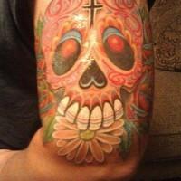 Dia de muertos skull coloured tattoo