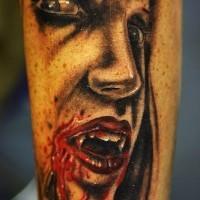 Lady vampire face tattoo