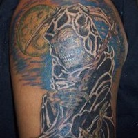 Grim reaper and full moon coloured tattoo