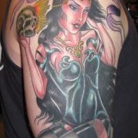 Memento mori the-dead coloured tattoo