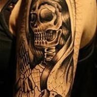 Praying death tattoo on arm