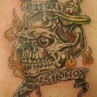 Skull and knife usa army tattoo
