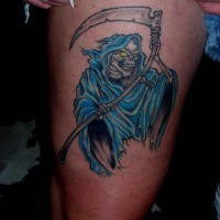 Coloured grim reaper tattoo