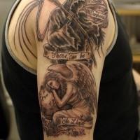 Grim reaper and angel in sorrow black tattoo