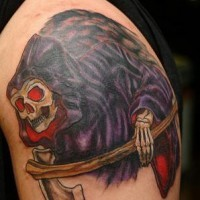 Le tatouage artistique de la Faucheuse en couleur