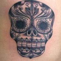 Dia de muertos skull black tattoo