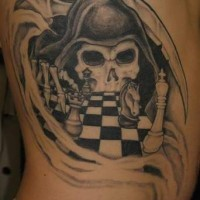 Death playing chess  tattoo