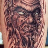 Ugly zombie monster tattoo