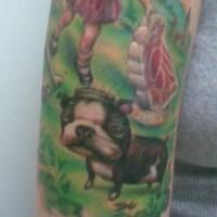 Französische Bulldogge auf Malerei Kunstwerk Tattoo
