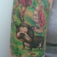 French bulldog on painting artwork tattoo