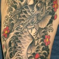 Le tatouage de dragon noir avec la tête de koï