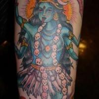 Vishnu deity coloured tattoo