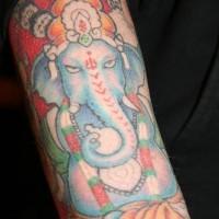 East indian ganesha coloured tattoo