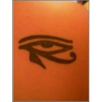 Egyptian eye of horus black ink tattoo