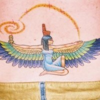 Winged egyptian woman goddes tattoo in colour