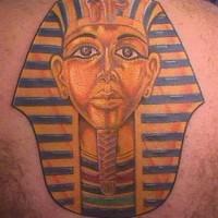 Egyptian pharaoh golden mask tattoo