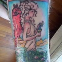 Tatuaggio pittoresco  l'angelo come la ragazza bionda e