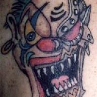 Evil robotic clown tattoo
