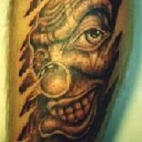 Evil clown look from skin rip