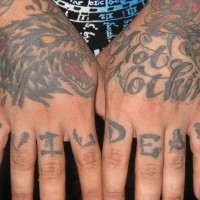 Knuckle tattoo, evil dead, black horror styled