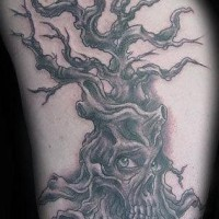 Evil dark tattoo with withered tree