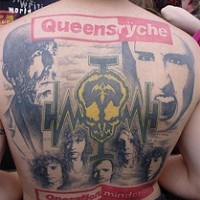 Queensryche band fan full back tattoo