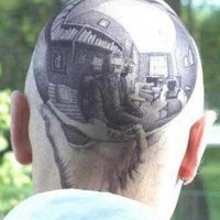 Escher autoportrait tattoo on head