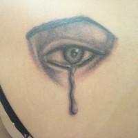 Tatuaje negro ojo con lágrima