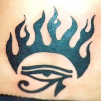 Eye of horus in flame tattoo
