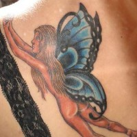 Naked fairy with butterfly wings tattoo