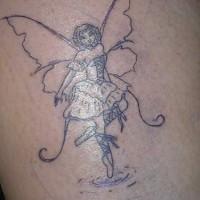 Fairy ballerina black ink tattoo