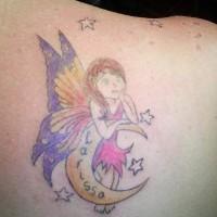 Colourful fairy on crescent coloured tattoo