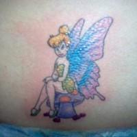 Tinkerbell fairy on mushroom tattoo