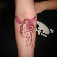 Red head fairy arm tattoo
