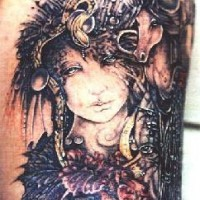 Biomech fairy and unicorn tattoo