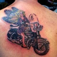 Fairy on motorcycle tattoo