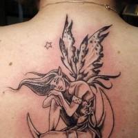 Fee auf dem Mond schwarze Tinte Tattoo