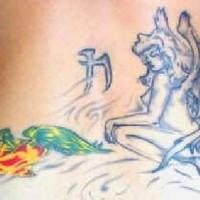 Fairy and apple tattoo