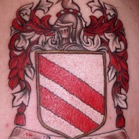 Spanish family crest tattoo in colour