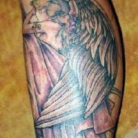 Sad winged fairy leg tattoo